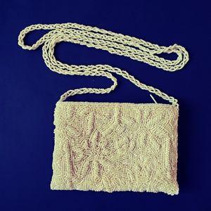 Small white boho beaded purse